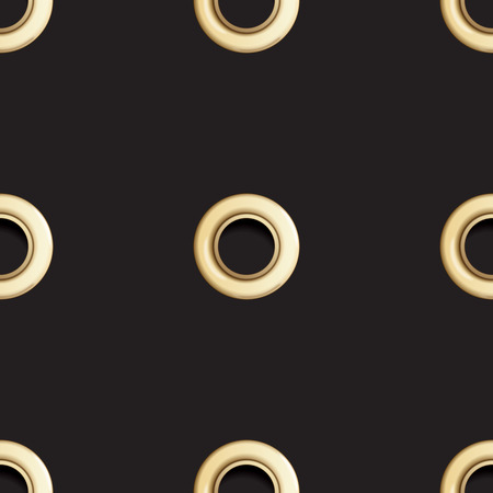 Golden eyelet seamless pattern isolated on black background. Metal polka dot with hole imitation. Vector repaet wallpaper with gold rings, fashion textile print, abstract geometric backdrop.
