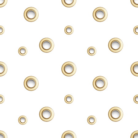 Golden eyelet seamless pattern isolated on white background. Metal polka dot with hole imitation. Vector repaet wallpaper with gold rings, fashion textile print, abstract geometric backdrop. Иллюстрация