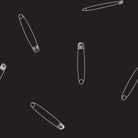 Nahtloses Muster der Metallsicherheitsnadel mit Schatten auf schwarzem Hintergrund. Realistische Vektormodeobjekte, Tapeten wiederholen, Textildruck.