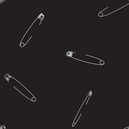 Metal pinned safety pin seamless pattern with shadows on black background. Realistic vector fashion objects, repeat wallpaper, textile print. Иллюстрация