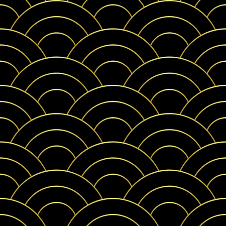 Golden wave seamless pattern. Luxury abstract geometric repeat background. Asian traditional gold backdrop, chinese wallpaper, textile print. Illustration