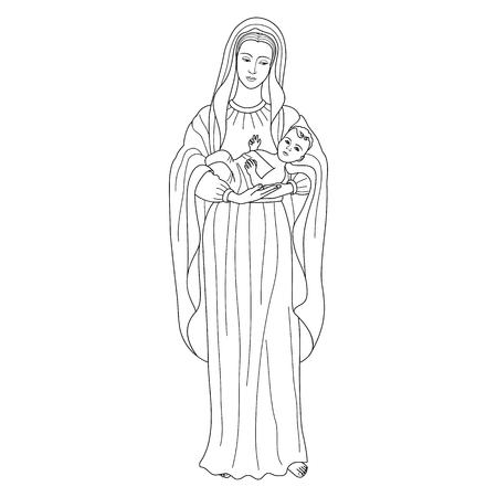 Heilige Jungfrau Maria hält Baby Jesus Christus. Weihnachtsvektormuster, Textildruck, Malvorlage.
