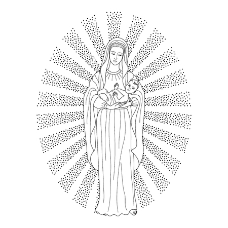 Saint virgin Mary holding baby Jesus Christ. Christmas vector pattern, textile print, coloring page.