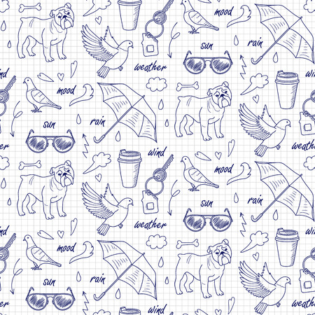 Doodle And Lettering Seamless Pattern On Notebook Squared Background