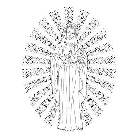 Santa Vergine Maria che tiene in braccio Gesù Cristo. Reticolo di vettore di Natale, stampa tessile, pagina da colorare.