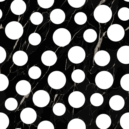 Vector seamless pattern with black marble and white polka. Marbling surface, modern luxurious background, luxury wallpaper.