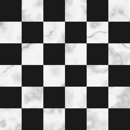 Vector white check marble seamless pattern on black background. Repeat marbling surface, modern luxurious chessboard background, luxury wallpaper, textile print and tile.