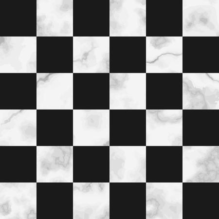 Vektor weißer Check Marmor nahtlose Muster auf schwarzem Hintergrund. Wiederholen Sie die Marmorierungsoberfläche, den modernen luxuriösen Schachbretthintergrund, die luxuriöse Tapete, den Textildruck und die Fliese.