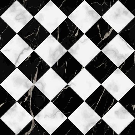 Nahtloses Muster des weißen und schwarzen Vektormarmors des Vektors. Wiederholen Sie die diagonale Marmoroberfläche, den modernen luxuriösen Schachbretthintergrund, die Luxustapete, den Textildruck und die Fliesen.