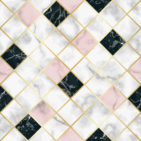 Vector marble seamless pattern with golden geometric diagonal lines. White, pink, black marbling surface, modern luxurious background, luxury wallpaper. 向量圖像