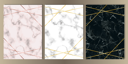 A4 Card Set with pink, white and black marble and gold lines. Luxury template with text place for wedding invite, greeting, birthday card and covers. Reklamní fotografie - 112375786