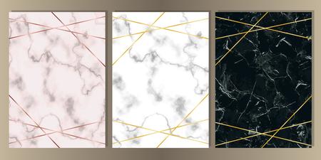 Jeu de cartes A4 avec des lignes de marbre rose, blanc et noir et or. Modèle de luxe avec place de texte pour invitation de mariage, voeux, carte d'anniversaire et couvertures.