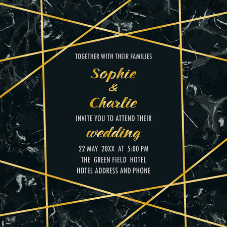 Wedding invitation with gold geometric frame on black marble. Luxury template with text place for invite, greeting, birthday card and covers.