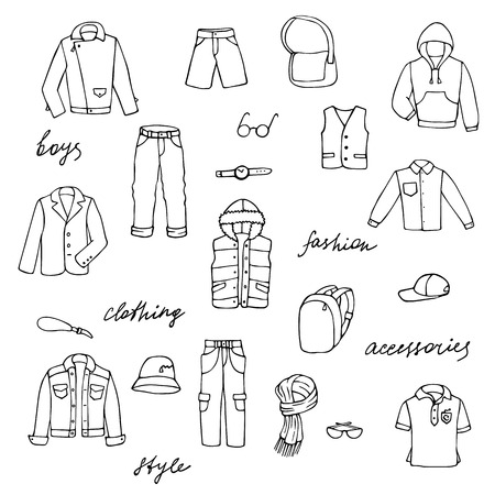Hand drawn doodle set with childish boy clothes and lettering. Outline vector illustration for backgrounds, textile prints, web and graphic design, coloring page.  イラスト・ベクター素材