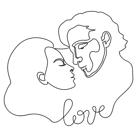 Man and woman abstract fashion portrait from continuous line. Contemporary conceptual doodle love pattern for posters, romantic textile prints, valentines greeting cards. Иллюстрация