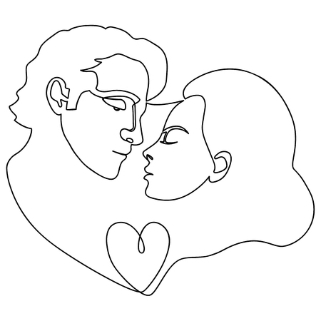 Man and woman and heart abstract fashion portrait from continuous line. Contemporary conceptual doodle love pattern for posters, romantic textile prints, valentines greeting cards.