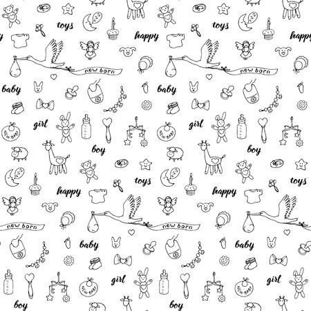 Bebé doodle y letras dibujadas a mano de patrones sin fisuras. Fondo de pantalla de dibujos animados con juguetes de niña y niño, cigüeña, objetos y elementos de cumpleaños. Repita el patrón de moda para estampados textiles, páginas para colorear. Ilustración de vector