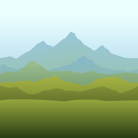 Seamless horizon border with mountains in watercolor style. Natural repeat wallpaper for textile prints, country backgrounds, alpine banner with text place and covers. Illustration