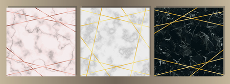 Squared Card Set with pink, white and black marble and gold lines. Luxury template with text place for wedding invite, greeting, birthday card and covers. Vektorgrafik