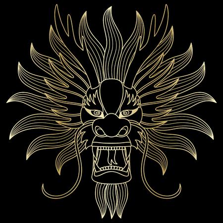 Chinese gold dragon head 일러스트
