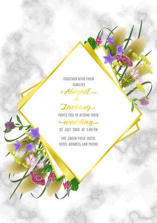 Template card on marble background with seven herbs of autumn equinox. Japanese mock up, template for Shubun no hi greeting, birthday cards, wedding inviration, covers and posters with text place. Vecteurs