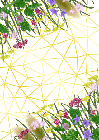Pattern on geometric background with seven herbs of autumn equinox. Japanese A4 backdrop, composition for Shubun no hi greeting, birthday cards, wedding inviration, covers and posters with text place.