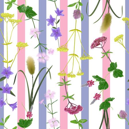 Patrón de rayas sin fisuras con siete hierbas del equinoccio de otoño. Papel tapiz japonés, fondo repetido para saludo Shubun no hola, tarjetas de cumpleaños, invitaciones de boda, cubiertas y carteles, estampados textiles