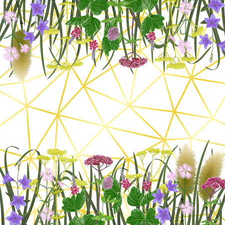 Pattern on geometric background with seven herbs of autumn equinox. Japanese backdrop, composition for Shubun no hi greeting, birthday cards, wedding inviration, covers and posters with text place. Vetores