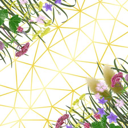 Motif sur fond géométrique avec sept herbes de l'équinoxe d'automne. Toile de fond japonaise, composition pour Shubun no hi salutation, cartes d'anniversaire, invitation de mariage, couvertures et affiches avec texte. Vecteurs