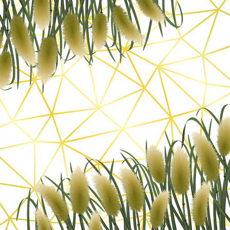 Gold geometric background with miscanthus in watercolor style. Classic square mock up, template for greeting, birthday cards, invites, covers and posters.