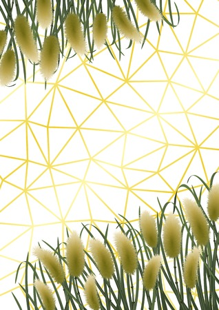 Gold geometric background with miscanthus in watercolor style. A4 mock up, template for greeting, birthday cards, invites, covers and posters.