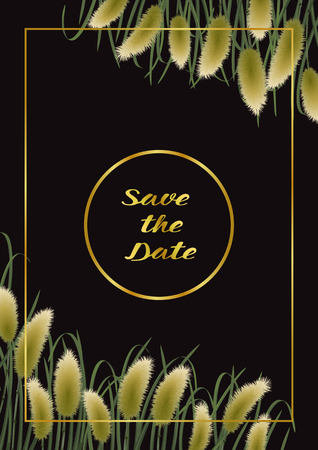 Save the Date card on black background with miscanthus in watercolor style. Classic A4 mock up, template for greeting, birthday cards, invites, covers and posters with text place.