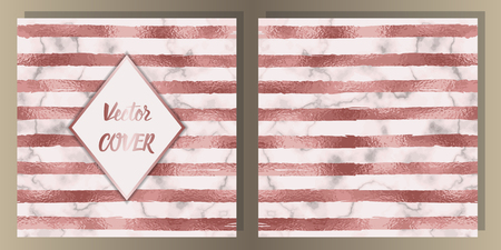 Stripe Pink Gold Foil and Marble Cover Set