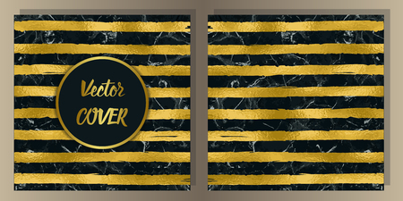 Stripe cover set on black marble background. Luxury gold metal foil abstract background for templstes, brochures, banners, greeting cards, invitation with text place.