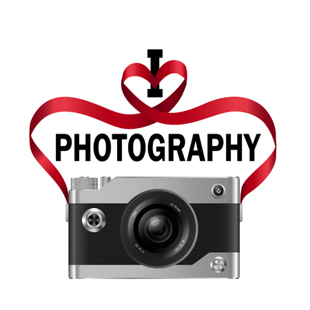 I love photography t-shirt fashion print with camera and heart from red ribbon t-shirt fashion print isolated on white background. Pattern for tshirt and apparel graphics, poster, prints. Vettoriali