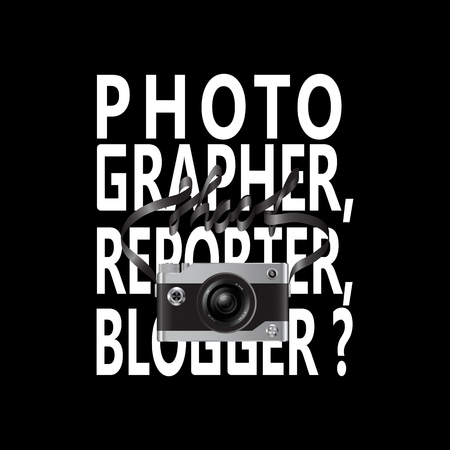 Photographer, reporter, blogger with camera and lettering t-shirt fashion print isolated on balck background. Pattern for tshirt and apparel graphics, poster, prints.