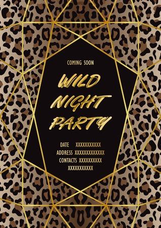 Carte d'invitation de fête sauvage de luxe avec imprimé léopard