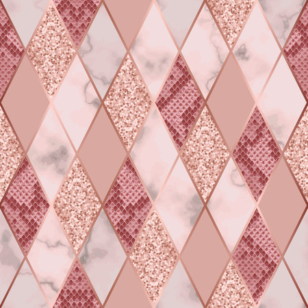 Vector marble seamless pattern with golden geometric diagonal lines. Gold glitter, white and pink rhombus marbling surface and snakeskin, modern luxurious background, luxury wallpaper. Stock Illustratie