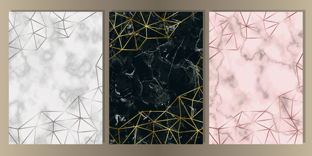 Gold, silver and pink gold and marble cover set. Luxury metal foil and stone abstract A4 background for templstes, brochures, banners, greeting cards, invitation. Vetores
