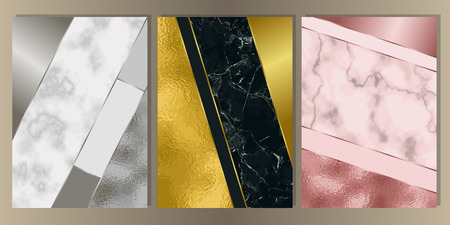 Gold, silver and pink gold and marble cover set. Luxury metal foil and stone abstract A4 background for templstes, brochures, banners, greeting cards, invitation. 向量圖像