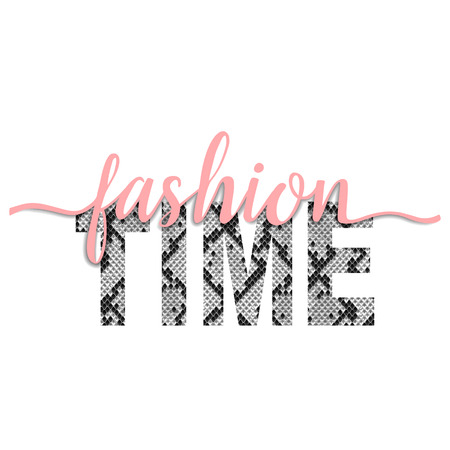 Fashion Time t-shirt animal fashion print on white background with pink ribbon. Pattern with lettering and snakeskin effect for tshirt and apparel graphics, poster, print, postcard.