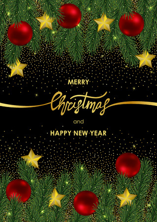 Christmas and New Year Card with Gold Geometric Frame