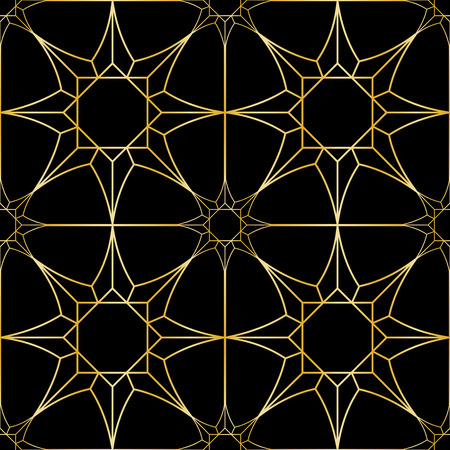Gold geometric artdeco stars seamless pattern on black background. Luxury repeat backdrop for interior decoration, textile prints, greeting wrapping.