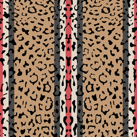 Striped Leopard Fashion Seamless Pattern