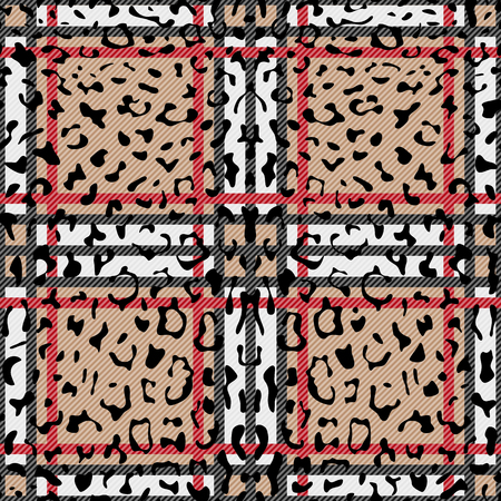 Check Leopard Fashion Seamless Pattern Vettoriali