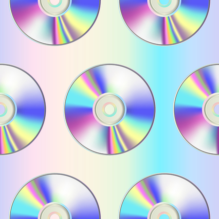 CD disk seamless pattern on holographic background Stock Vector - 111424480