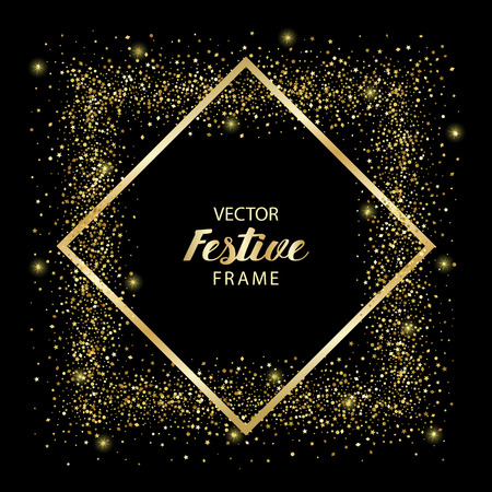 Luxury festive golden square frame on black background. Gold glitter from star, round and diamond particles. Template with glitter for logo, greeting card, certificate, gift voucher and covers.