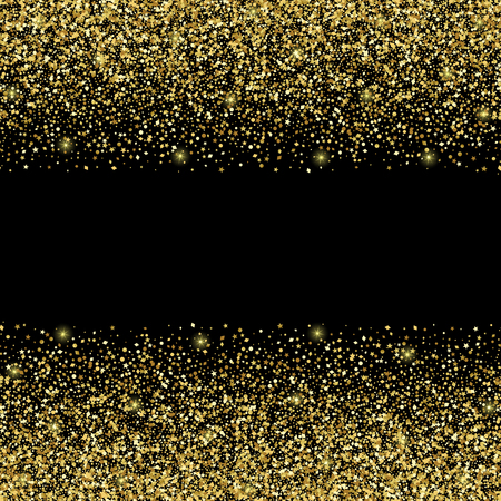 Luxury festive golden seamless border on black background. Gold glitter with star, round and diamond particles. Template for greetind card, certificate, gift voucher and covers with text place. Illustration