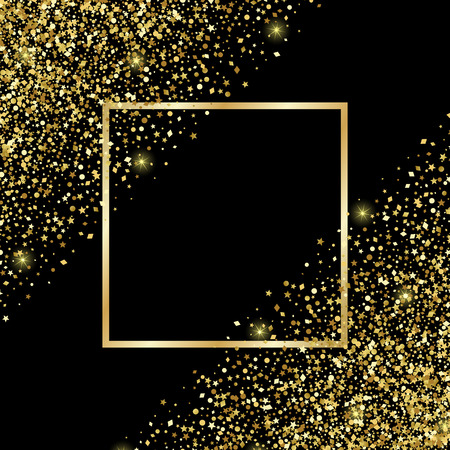 Luxury and Golden Glitter Square Festive Frame