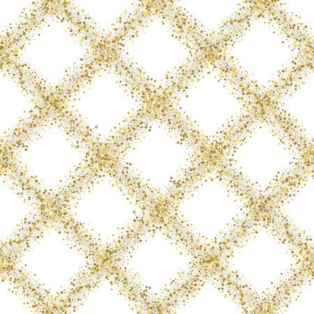 Luxury Golden Glitter Diagonal Check Seamless Pattern Imagens
